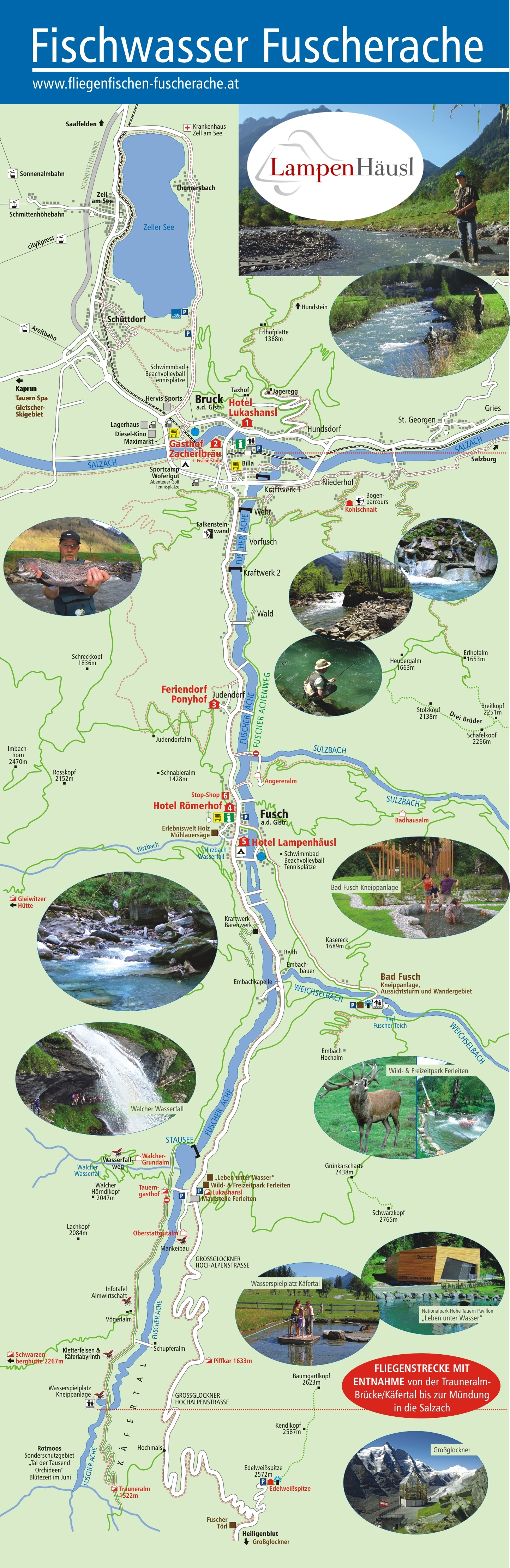 Overview Map Fly fishing waters Fuscher Ache