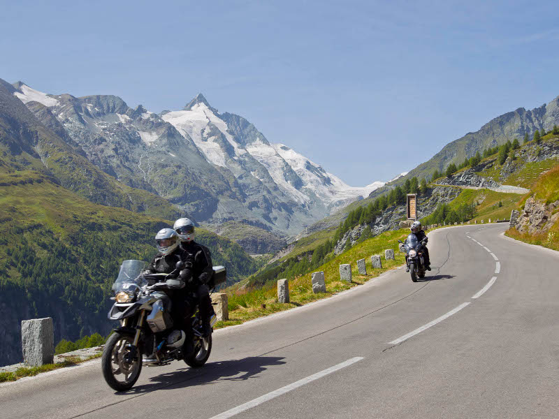With the motorcycle on the Grossglockner High Alpine Road